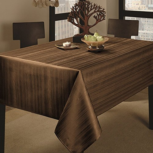 """Benson Mills Co., Inc. Benson Mills Flow Heavy Weight """"Spillproof"""" 60-Inch by 84-Inch Fabric Tablecloth, Chocolate, 60x84"""