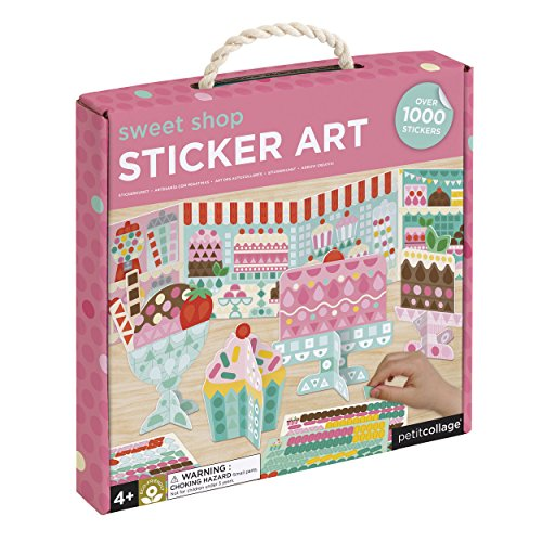 Petit Collage Mosaic Sticker Art Kit with Over 1000 Stickers, Sweet Shop