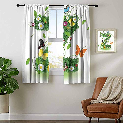 - Mozenou Letter Z, Room Darkening Wide Curtains, Fresh Summer Garden Flower Bed and Cute Butterflies Colorful Wings Leaves, for Kitchen, W63 x L72 Inch Green Multicolor