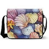 Oxford Crossbody Colorful Seashells Starfish Art Painting Messenger Bag Laptop Case Backpack