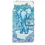 Deego Galaxy S6 Edge Plus Case Flip Folio Wallet Bumper Case Premium Magnetic Closure PU Leather With Foldable Kickstand Stand Cover Built-in Cards/Cash Slots For Galaxy S6 Edge+ (2015) (Elephant)
