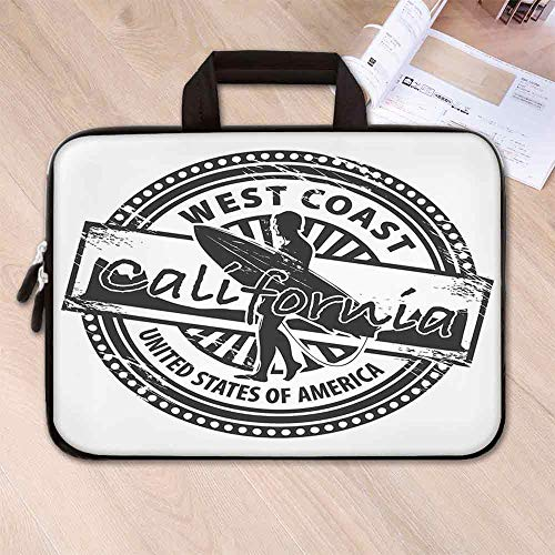 (Ride The Wave Wear Resisting Neoprene Laptop Bag,West Coast California United States of America Grunge Vintage Stamp Print Decorative for Laptop Tablet PC,14.6''L x 10.6''W x 0.8''H)