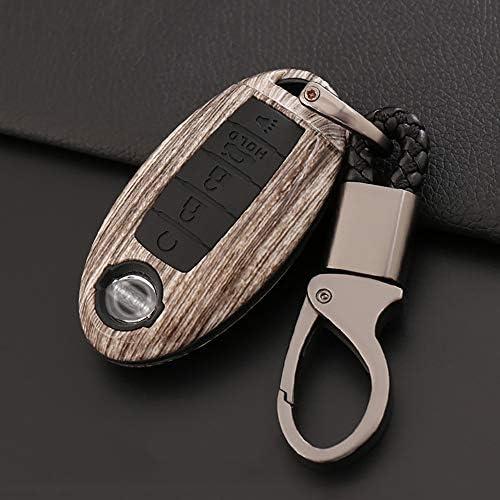 [해외]ontto for Nissan 5 Buttons Smart Remote Key Fob Cover Case Car Key Holder Key Protector Keychain Keyring Premium ABS Key Shell and Silicone Case Fit for Nissan Altima Maxima Brown / ontto for Nissan 5 Buttons Smart Remote Key Fob C...