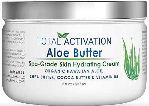 Hawaiian Aloe Vera Face & Body Moisturizer & Night Cream for Sunburn Relief Compare With Aloe Vera Gel 100 Percent Pure, Face Lotion, Eczema Cream, Lotion For Dry Skin & Wrinkle Cream For Women 8 oz