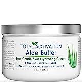 Hawaiian Aloe Vera Face & Body Moisturizer & Night Cream for Sunburn Relief Compare With Aloe Vera Gel 100 Percent Pure, Face Lotion, Eczema Cream, Lotion For Dry Skin & Wrinkle Cream For Women 8 oz