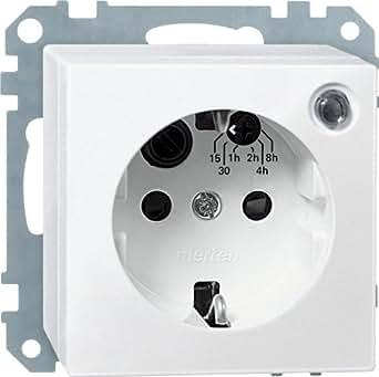 Merten 500119 SCHUKO- Toma de enchufe temporizador con BRS, color blanco