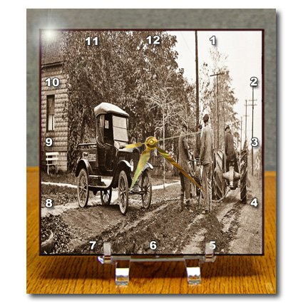 3dRose LLC 1920S Ford Service Truck And Tractors 2 Sepia Desk Clock, 6 By 6