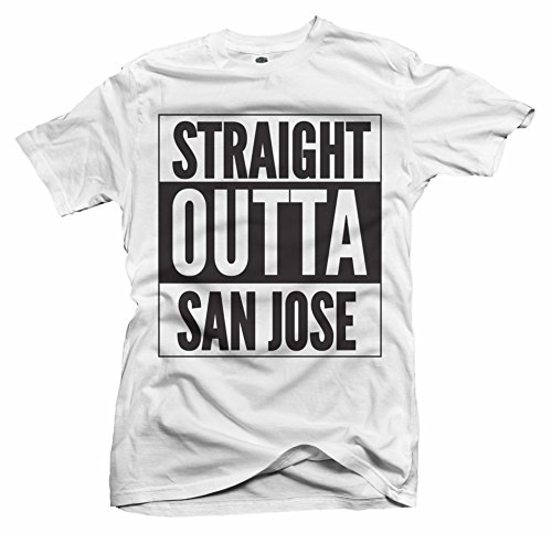 STRAIGHT OUTTA SAN JOSE 4X White Men's Tee (6.1oz) for sale  Delivered anywhere in USA