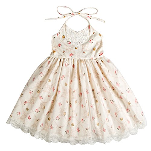 Girl Dress Kids Toddler Ruffles Lace Tulle Floral Print Casual Party Sundress Backless Cream 2 3 Years