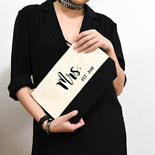 PumPumpz Personalized Gifts Wedding ''Mrs. Est. 2018'' Large Canvas Travel YKK Zipper Makeup Bag.''Which arrive you within 5 days'' (Mrs Black) by PumPumpz (Image #4)