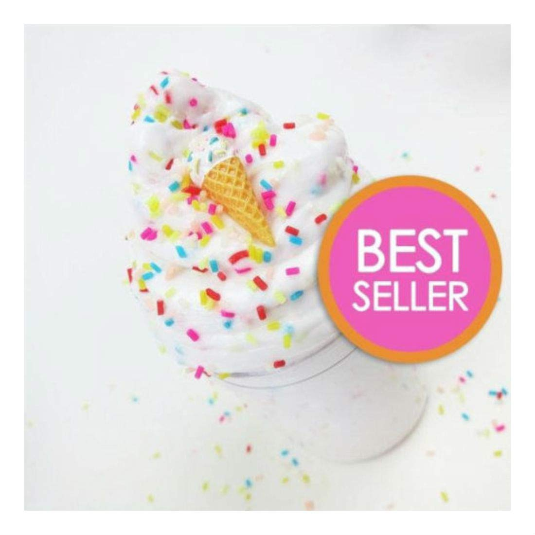 Unbranded 4oz Ice Cream Birthday Cake w/ Sprinkles & Charm - Scented Butter Slime (Daiso)