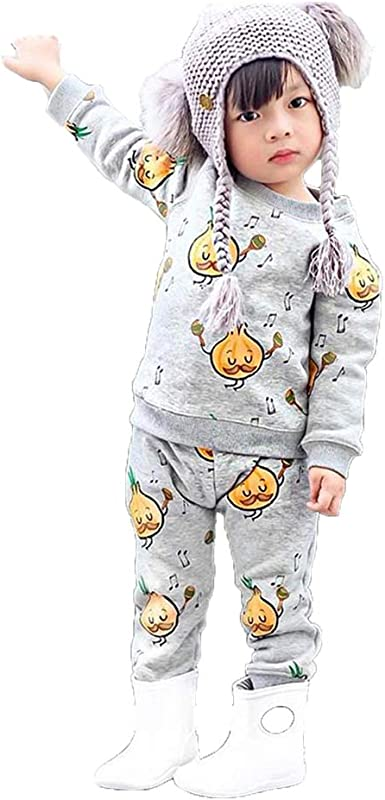 2PCS Baby Girls Outfits T-shirt Floral Pants Set Toddler Clothes Tracksuit US