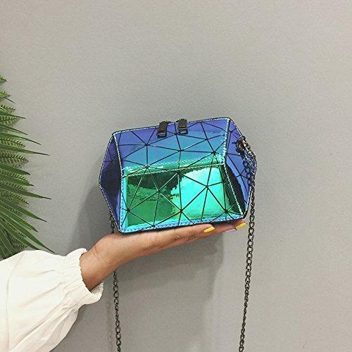 ZHANGJIA Pequeño Bolso Chic Verano Cadena Laser Bolsa Moda Chic Shell Shoulder Bag,Azul blue