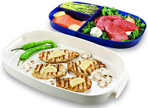 Prep And Serving BBQ Tray Set – 3 Containers Portable Tray Keep Cooked Food Warm