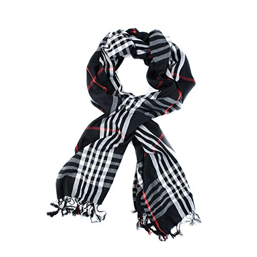 Black Burberry Scarf - TitFus Classic Designer Inspired Extended Plaid Scarf Wrap Shawl Throw Large (Black)