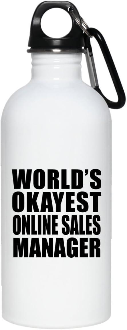 Worlds Okayest Online Sales Manager - Water Bottle Botella de Agua, Acero Inoxidable - Regalo para Cumpleaños Aniversario el Día de la Madre o del Padre