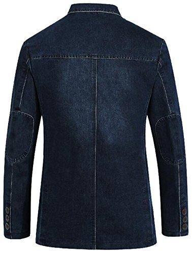 Denim Scuro A2182 Nbnnb Casuale Del All'aperto Uomini Cime Blazer blu Collare Cappotto Soddisfare fqTv78