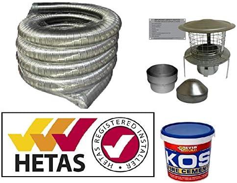 StoveMaestro Full 12m x 5 Pot Hanger Flue Liner Kit in 316 steel For Woodburning Stoves