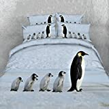 Alicemall 3D Penguin Bedding Queen Size Set A Group of Cute Penguins Print Light Blue 5-Piece Comforter Sets Quilt Set for Kids and Adults, Twin/ Full/ Queen/ King Size (Queen, Light Blue)