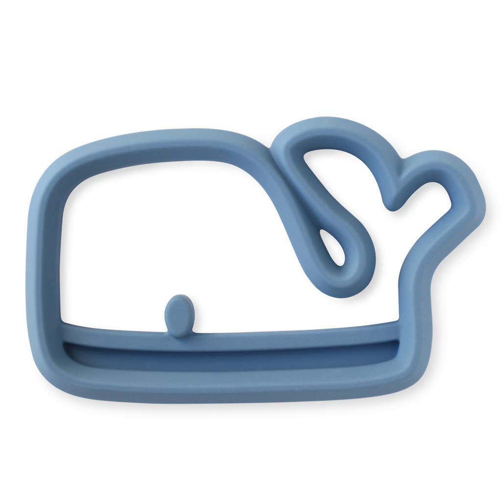 Itzy Ritzy Silicone Baby Teether - BPA-Free Infant Teether with Easy-to-Hold Design & Textured Back Side to Massage & Soothe Sore, Swollen Gums, Whale