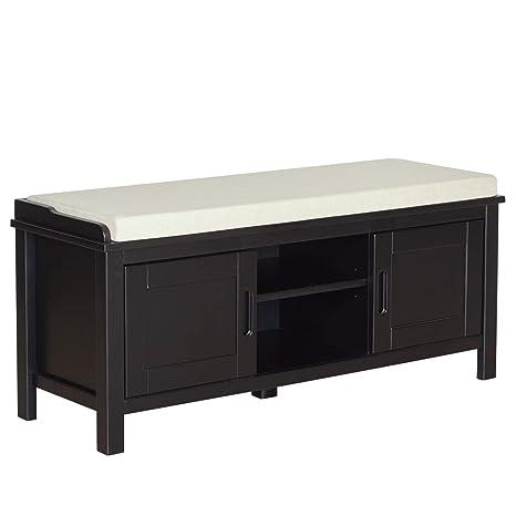 Outstanding Ravenna Home Classic Solid Pine Storage Bench 45W Black Finish Inzonedesignstudio Interior Chair Design Inzonedesignstudiocom