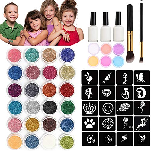 Chnaivy Glitter Tattoos kit Temporary Make Up Body Face Paint Glitter 24 Colors 118 Sheets Cute Stencils, 3 Waterproof Adhesive,2 Brushes, Birthday Gift Christmas gift for Kids Girls Party Supplies
