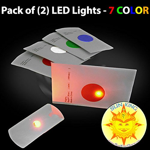 Pack of (2) Flat LED Disc Golf Lights - 7 COLOR + Sun King Sticker