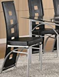 Coaster Home Furnishings Contemporary Dining Chair, Silver/Black, Set of 2