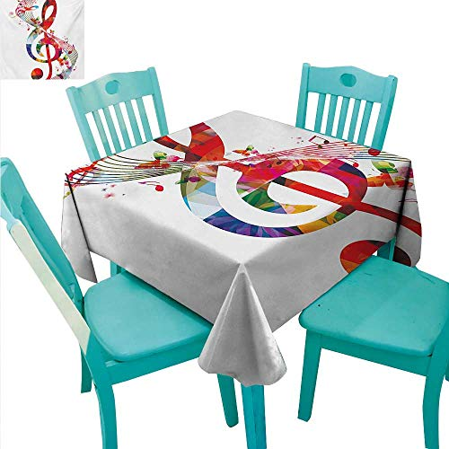 (WilliamsDecor Music Fabric Dust-Proof Table Cover Artwork with Musical Notes Rhythm Song Ornamental in Vibrant Colors Fantasy Theme Indoor Outdoor Camping Picnic 60