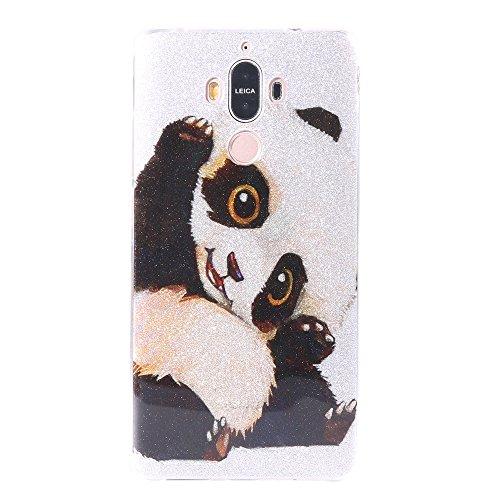Funda Huawei Mate 9,EUDTH Suave TPU Gel Funda Case Delgado Bling Resplandecer Silicona Fundas Carcasa Espalda para Huawei Mate 9 (5.9 Pulgadas) Love lock Panda