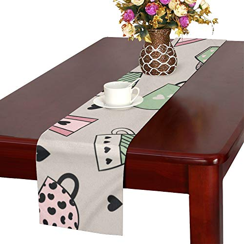 WUwuWU Mug Home Supplies Hand-Painted Table Runner, Kitchen Dining Table Runner 16 X 72 Inch for Dinner Parties, Events, - Latte Table Cafe Runner