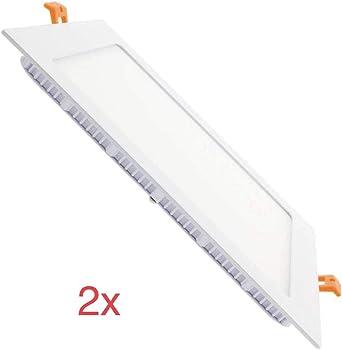 LA) 2x Panel LED Cuadrado 18W Downlight LED, 1600 lumenes, Driver ...