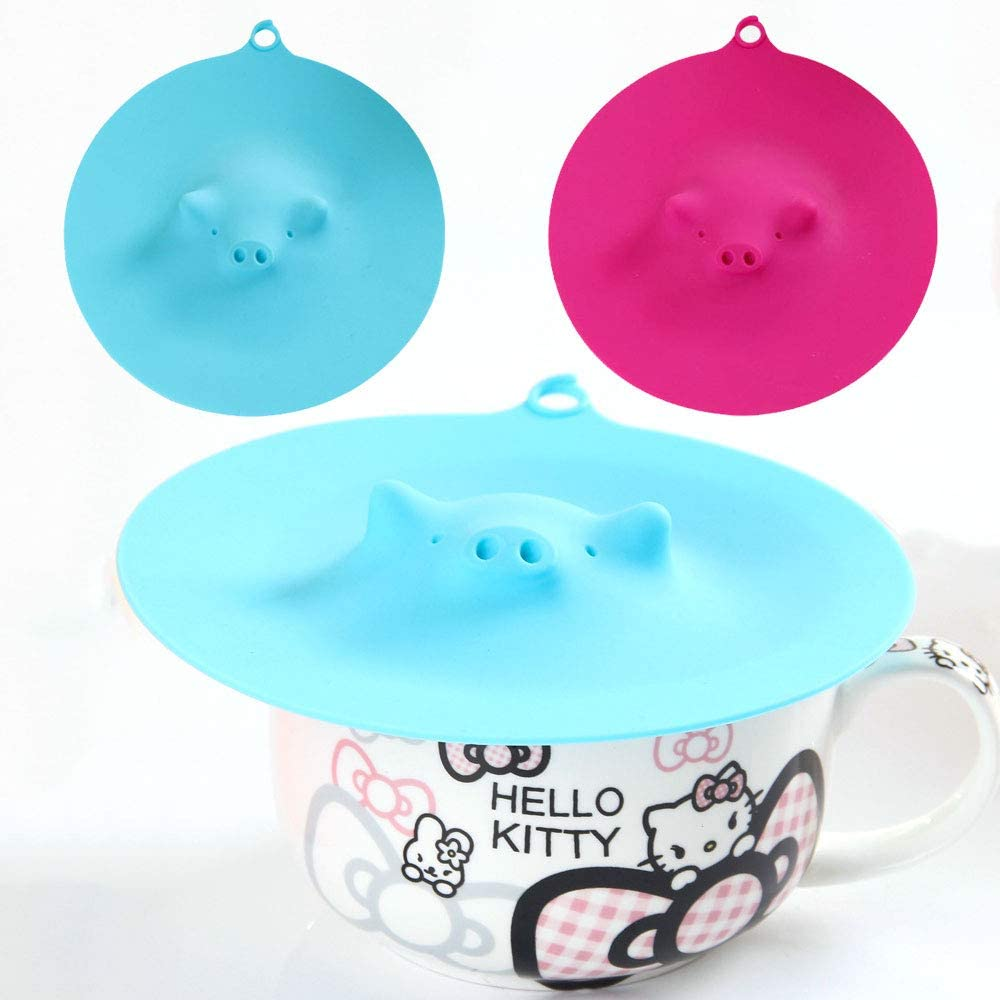6.9'' Food Grade Silicone Cup Covers Pig Mug Cover 2 Pcs Silicone Cup Lids Heat retention Reusable Dustproof Leakage Prevention For Coffee Drink Tea Family Kitchen