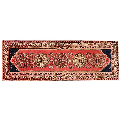 3.6' X 10.5' Red Vintage Runner Rug, Classic Oriental Wool Rug For Living Room, Oriental Area Rug, Traditional Fancy Carpet, Code:R0101410