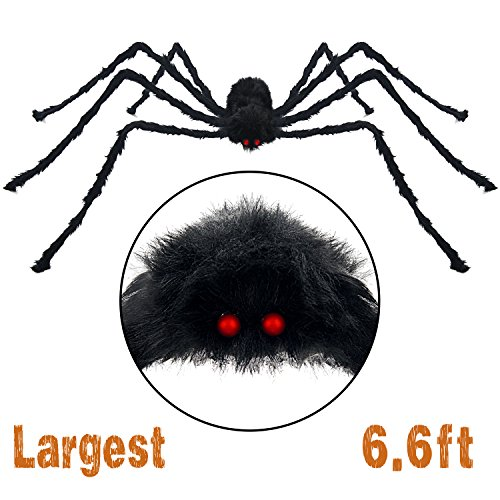 Pawliss Scary Halloween 6.6 Ft. 200cm Giant Spider Outdoor Decor Yard Decorations, Fake Large Hairy Spider Props - Spiders Halloween Decorations