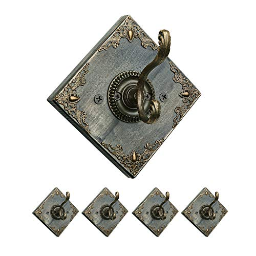 (GomReck Wall Mounted Coat Hooks, 5 Pcs Vintage Wooden Rustic Dual Coat Racks Perfect Touch for Your Entryway, Mudroom, Kitchen, Bathroom (Hook #2))