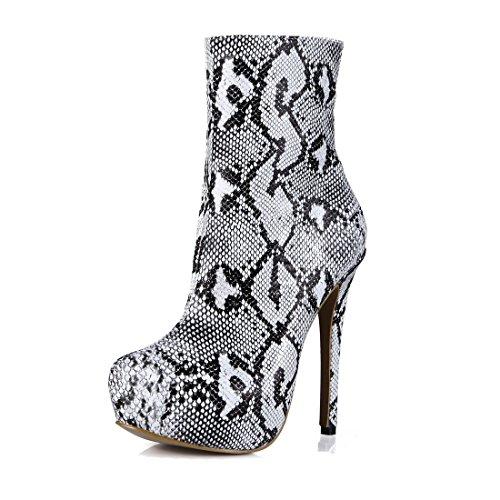 CHMILE CHAU Women Fashion Snakeskin Mid-Calf Boots Round Toe Platform Stiletto High Heeled Half Boots Black & White