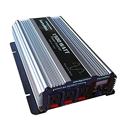 VertaMax Pure SINE Wave 1500 Watt (3000W Surge) 12V Power Inverter DC to 115 AC Car, Solar, Off-Grid, RV, Back Up Power: Car Electronics