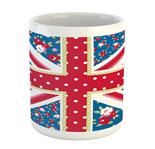 Ambesonne Shabby Chic Mug, Cute British Flag in Floral Style Retro Polka Dots Country Culture Inspired, Printed Ceramic Coffee Mug Water Tea Drinks Cup, Multicolor