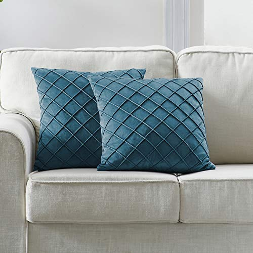 Longhui bedding Velvet Teal Throw Pillow Covers, 18 x 18 Inches Decorative Throw Pillows for Couch Sofa Bed, Dark Teal Square Cushion Covers with Zipper Closure - Set of 2 (Velvet Throw Pillow Covers)