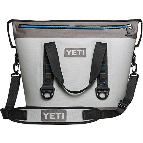 YETI Hopper Two 30 Portable Cooler, Fog Gray / Tahoe Blue (Best Small Cooler Bag)