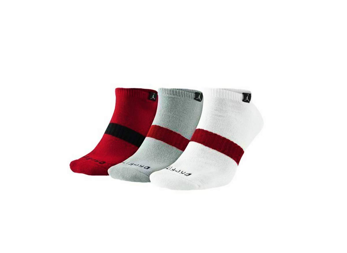 Jordan Youth's Dri-Fit Ankle No Show Socks 3-Pack Multi Color White/Gray/Red JD020C-R78 (US 5Y-7Y) by Jordan