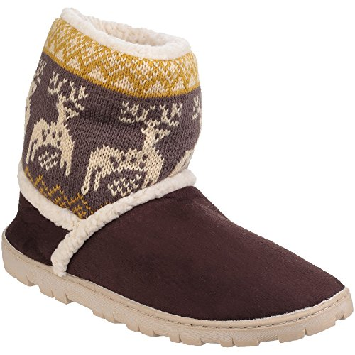 Faux Suede Womens Divaz Denmark Brown Slippers Bootie On ladies Pull twfPdd1q