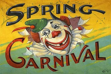 SPRING CARNIVAL CIRCUS CLOWN 12quot X 16quot IMAGE SIZE VINTAGE POSTER REPRO