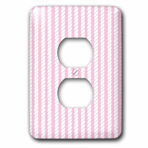3dRose lsp_212476_6 Pink and White Nautical Rope Design - 2 Plug Outlet Cover