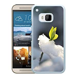 Hot Sale HTC ONE M9 Cover Case ,Nature Fresh Bud Through Icy Snow Field White HTC ONE M9 Phone Case Unique And Fashion Design