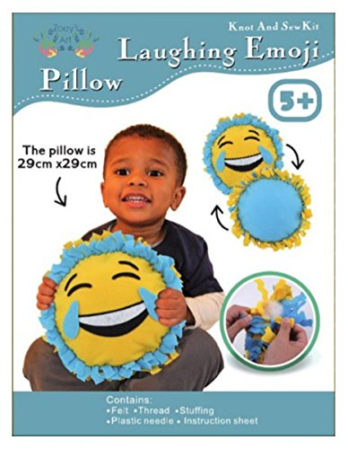 Emoji Smile Face with Tears, Sew and Stuff Kit. Ideal Kids Craft Kit Includes all Supplies. Fun Activity. Ages 5-12. All Inclusive Arts and Crafts, w/ Vibrant Colors Ideal Rainy Day Activity
