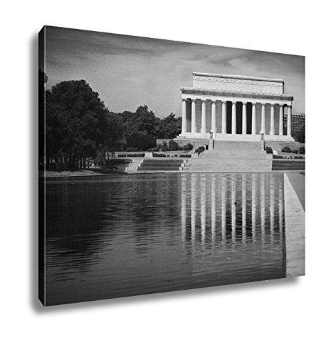 Ashley Canvas Abraham Lincoln Memorial Reflection Pool Washington Dc Us USA, Wall Art Home Decor, Ready to Hang, Black/White, 16x20, AG6435220
