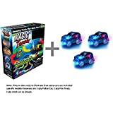 Magic Tracks 220-Piece Glow-in-the-dark Racetrack and Car Play Set with 3 Pieces Car + Travel Bag