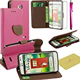 LG Optimus L70 Case, Fulland Wallet Card Holder PU Leather Pouch Flip Leaf Style Case Cover with Stand for LG Optimus L70 Plus Stylus Pen and Screen Protector -Rose Red